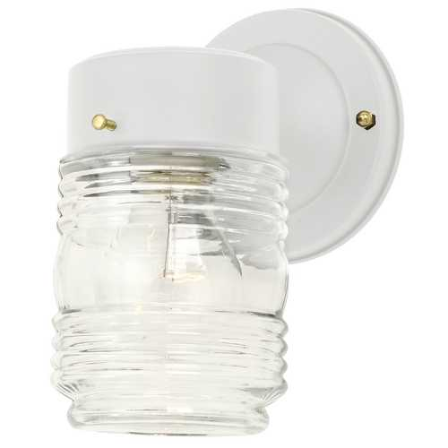 Design Classics Lighting Outdoor Wall Light with Jelly Jar Glass 101 WH   (SUB 6687800)