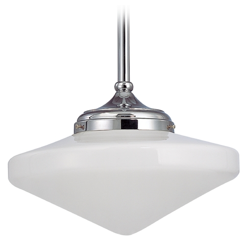 Design Classics Lighting 14-Inch Pendant Light with Opal Schoolhouse Glass in Chrome Finish FA6-26 / GE14