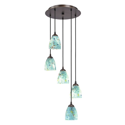 Design Classics Lighting Bronze Multi-Light Pendant Light with Turquoise Art Glass 580-220 GL1021MB