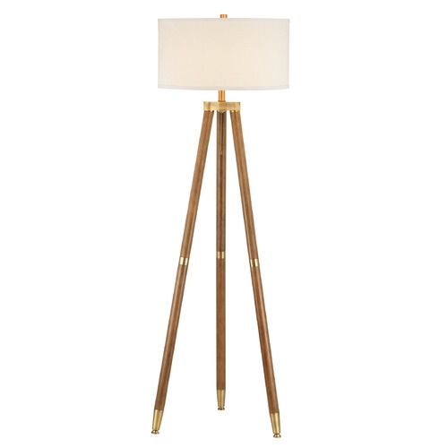 Design Classics Lighting Tripod Teak & Brass Finish Floor Lamp with Cream Linen Drum Shade 6951-710/713 / SH7715