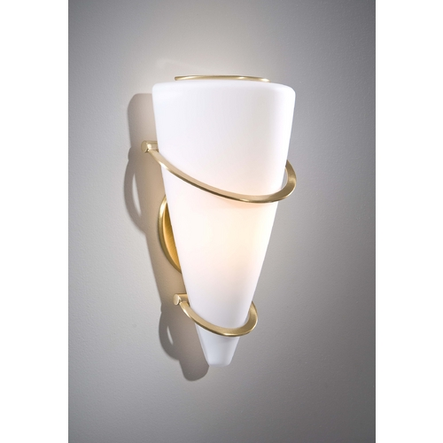 Holtkoetter Lighting Holtkoetter Modern Sconce Wall Light with White Glass in Brushed Brass Finish 2969 BB SW