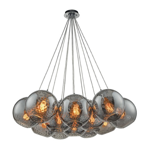 Elk Lighting Elk Lighting Watersphere Polished Chrome Multi-Light Pendant with Globe Shade 31380/12SR