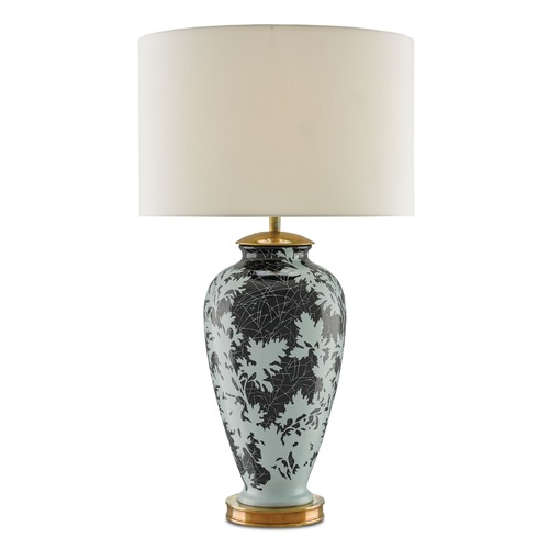 Currey and Company Lighting Currey and Company Nightshade Mint/black/antique Brass Table Lamp with Drum Shade 6000-0010