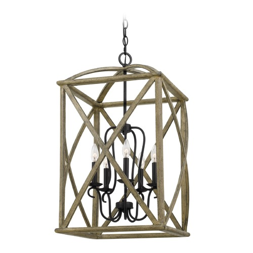 Quoizel Lighting Farmhouse Weathered Oak 5-Light Pendant WHN5205DW
