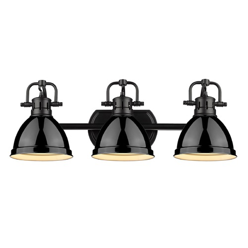 Golden Lighting Golden Lighting Duncan Black Bathroom Light with Gloss Black Shade 3602-BA3BLK-BK