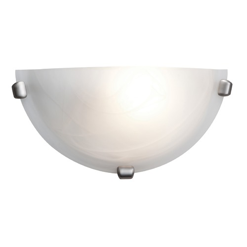 Access Lighting Modern Sconce Wall Light with Alabaster Glass in Brushed Steel Finish 20417-BS/ALB