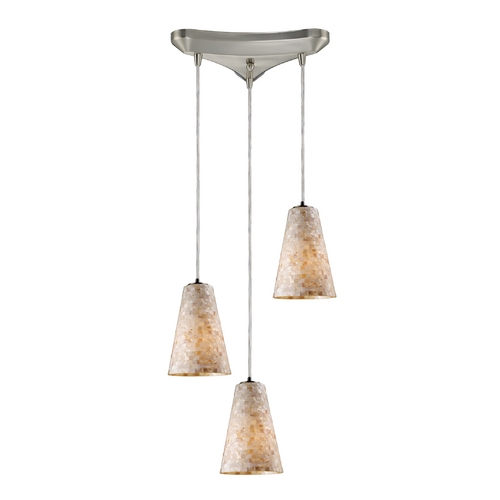 Elk Lighting Modern Multi-Light Pendant Light with Beige / Cream Glass and 3-Lights 10142/3