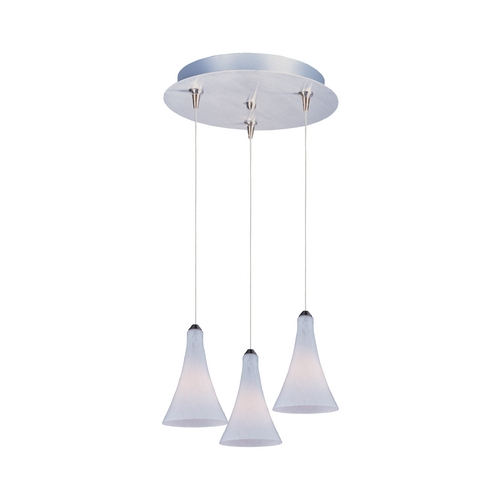 ET2 Lighting Modern Low Voltage Multi-Light Pendant Light with White Glass and 3-Lights E94632-105SN