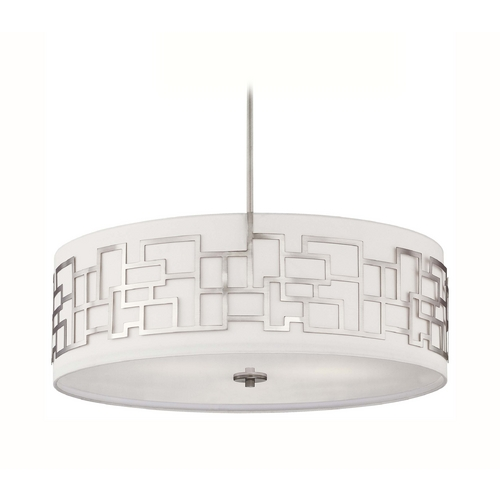 George Kovacs Lighting Modern Drum Pendant Light with White Shade in Brushed Nickel Finish P197-084