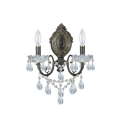Crystorama Lighting Crystal Sconce Wall Light in English Bronze Finish 5192-EB-CL-SAQ