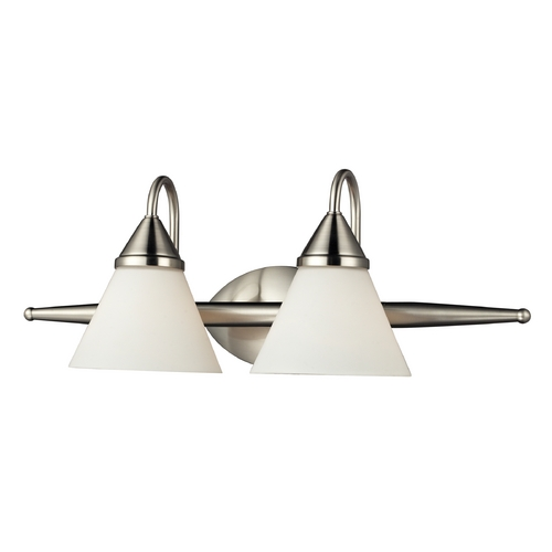 Elk Lighting Bathroom Light with White Glass in Satin Nickel Finish 84056/2