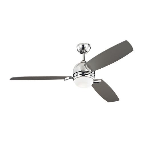 Monte Carlo Fans Modern Ceiling Fan with Light with White Glass in Polished Nickel Finish 3MUR52PND