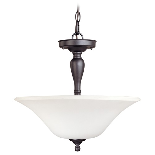 Nuvo Lighting Bronze Semi-Flushmount Ceiling Light with Bowl Glass Shade 60/1847