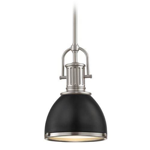 Design Classics Lighting Industrial Small Pendant Light Black and Satin Nickel 7.38-Inch Wide 1764-09 SH1775-07 R1775-09