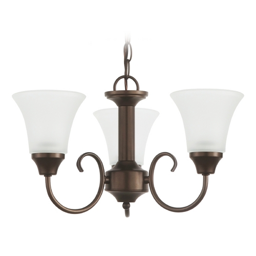 Sea Gull Lighting Mini-Chandelier with White Glass in Bell Metal Bronze Finish 31806-827
