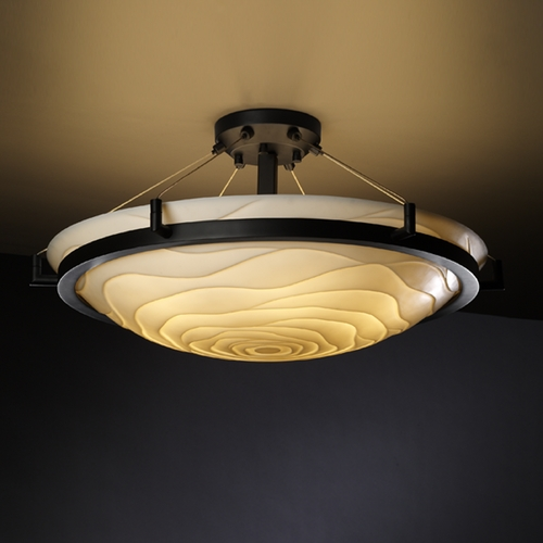 Justice Design Group Justice Design Group Porcelina Collection Semi-Flushmount Light PNA-9682-35-WAVE-DBRZ