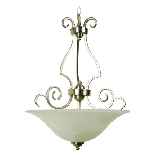 Jeremiah Lighting Jeremiah Cecilia Brushed Satin Nickel Pendant Light with Bowl / Dome Shade 7118BN3