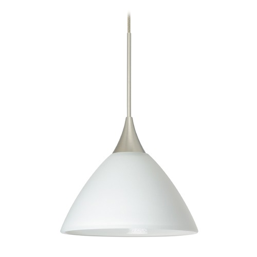 Besa Lighting Besa Lighting Domi Satin Nickel Mini-Pendant Light with Bell Shade 1XT-174307-SN