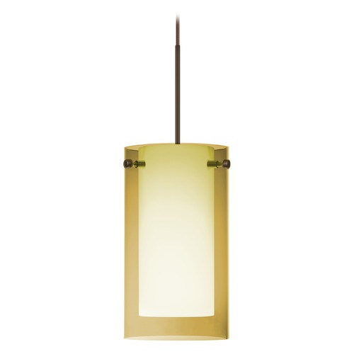 Besa Lighting Besa Lighting Pahu Bronze Mini-Pendant Light with Drum Shade 1XT-Y44007-BR