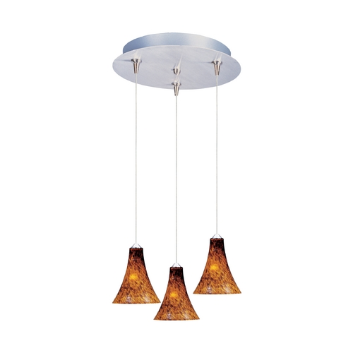 ET2 Lighting Modern Low Voltage Multi-Light Pendant Light with Amber Glass and 3-Lights E94633-104SN