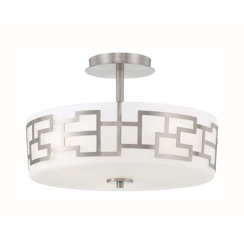 George Kovacs Lighting Modern Semi-Flushmount Light with White Glass in Brushed Nickel Finish P198-084