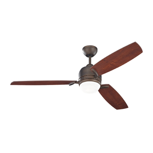 Monte Carlo Fans Modern Ceiling Fan with Light with White Glass in Roman Bronze Finish 3MUR52RBD
