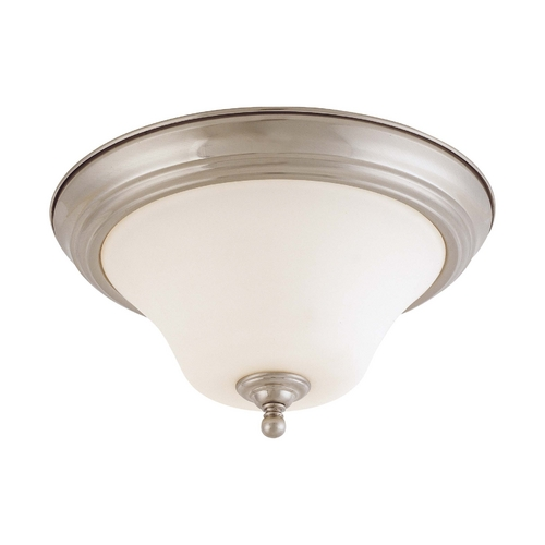 Nuvo Lighting Flushmount Light with White Glass in Brushed Nickel Finish 60/1905