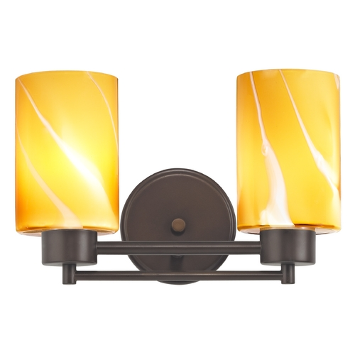 Design Classics Lighting Modern Bathroom Light with Butterscotch Art Glass in Bronze Finish 702-220 GL1022C