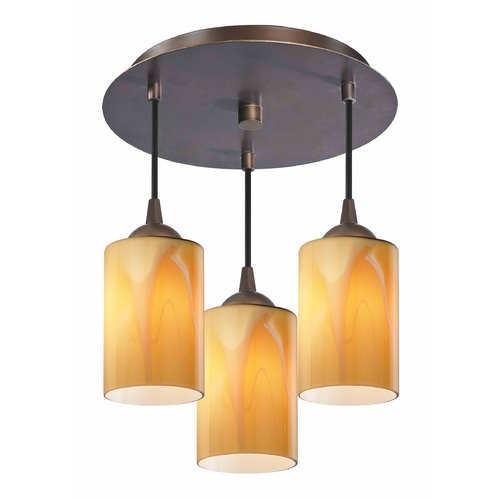 Design Classics Lighting 3-Light Semi-Flush Light with Butterscotch Art Glass - Bronze Finish 579-220 GL1022C