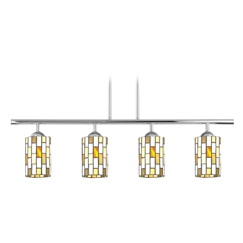Design Classics Lighting Island Light with Multi-Color Glass in Chrome Finish 718-26 GL1038