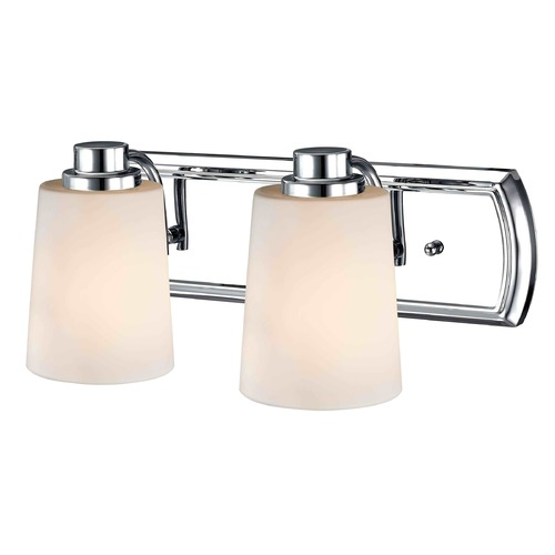 Design Classics Lighting 2-Light Bathroom Light in Chrome with White Glass 1202-26 GL1027