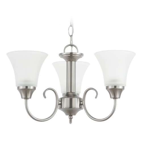 Sea Gull Lighting Mini-Chandelier with White Glass in Brushed Nickel Finish 31806-962