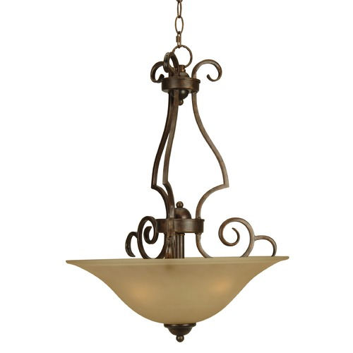 Jeremiah Lighting Jeremiah Cecilia Peruvian Bronze Pendant Light with Bowl / Dome Shade 7118PR3