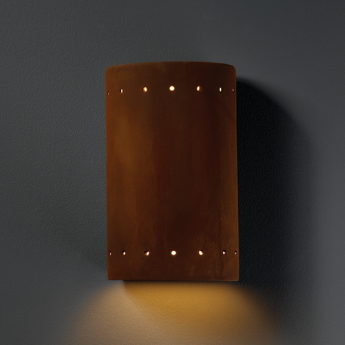 Justice Design Group Sconce Wall Light in Real Rust Finish CER-0990-RRST