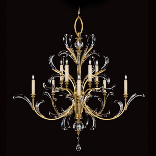 Fine Art Lamps Fine Art Lamps Beveled Arcs Gold Leaf Crystal Chandelier 760640ST