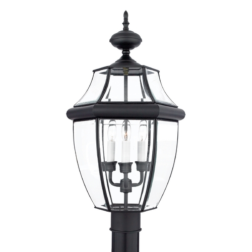 Quoizel Lighting Post Light with Clear Glass in Mystic Black Finish NY9043K