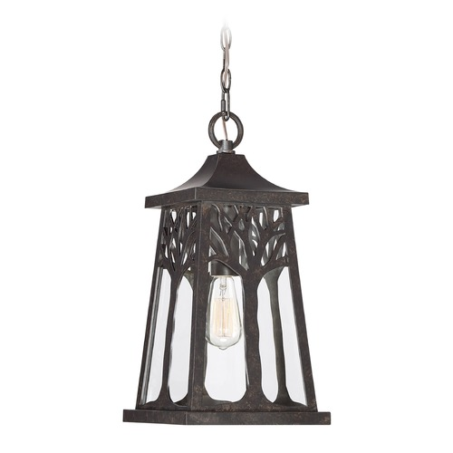 Quoizel Lighting Imperial Bronze 1-Light Outdoor Hanging Light with Clear Shade WWD1909IB