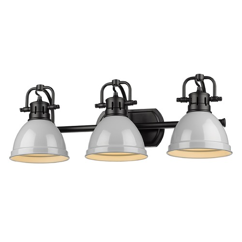 Golden Lighting Golden Lighting Duncan Black Bathroom Light with Grey Shade 3602-BA3BLK-GY