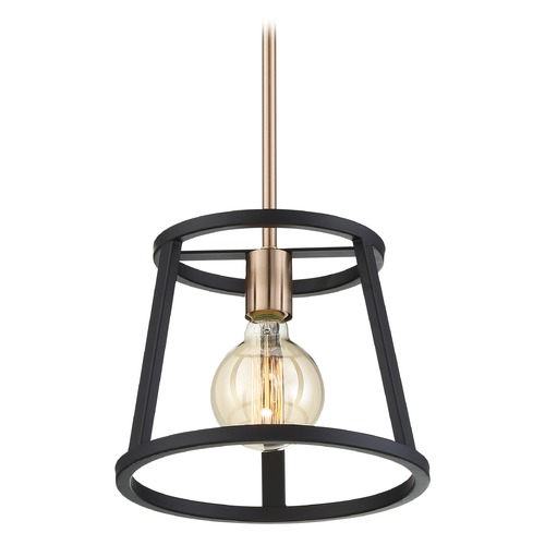 Nuvo Lighting Satco Lighting Chassis Copper Brushed Brass / Matte Black Mini-Pendant Light 60/6641