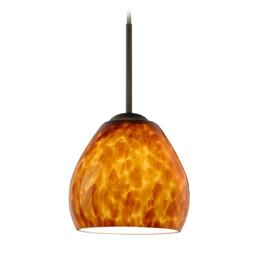 Besa Lighting Besa Lighting Bolla Bronze Mini-Pendant Light with Bowl / Dome Shade 1BT-412218-BR