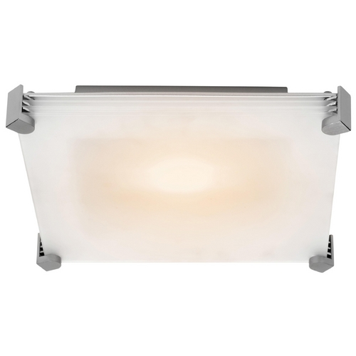 Access Lighting Modern Flushmount Light with White Glass in Brushed Steel Finish 50127-BS/FST