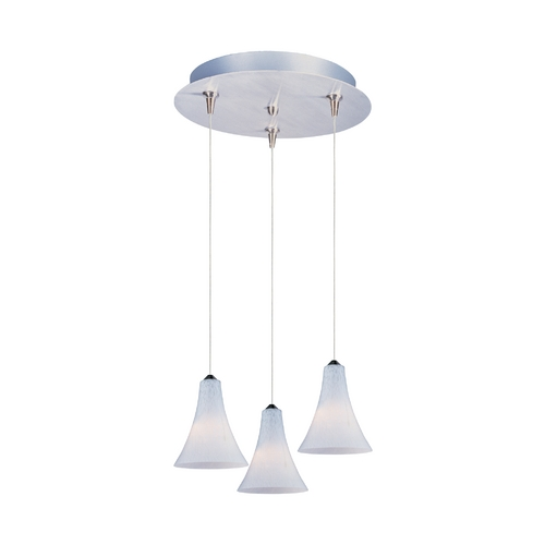 ET2 Lighting Modern Low Voltage Multi-Light Pendant Light with White Glass and 3-Lights E94634-105SN