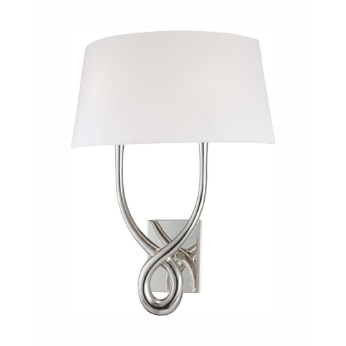 George Kovacs Lighting Modern Sconce Wall Light with White Glass in Silver Plated Finish P294-0W-634