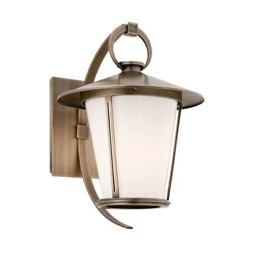 Troy Lighting Outdoor Wall Light with White Glass in Antique Brass Finish BF3252