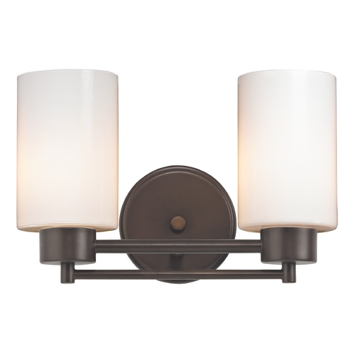 Design Classics Lighting Modern Bathroom Light with White Glass in Bronze Finish 702-220 GL1024C