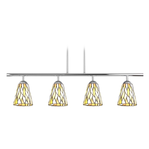 Design Classics Lighting Island Light with Multi-Color Glass in Chrome Finish 718-26 GL1037