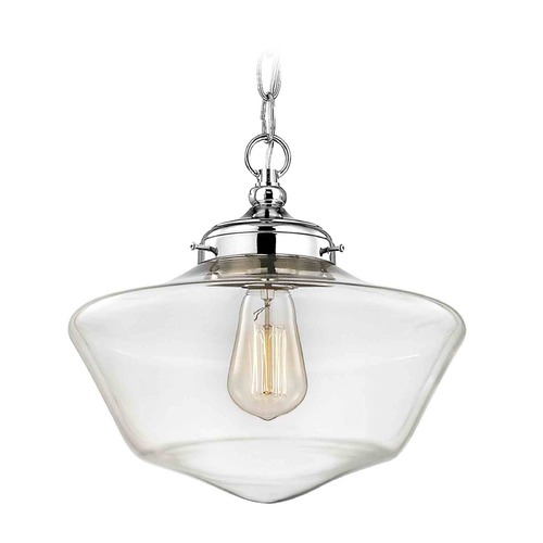 Design Classics Lighting Elliott Fitter with Powellhurst Glass Chrome Pendant Light FA4-26 / GA12-CL / A-26