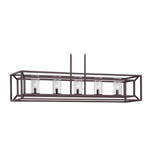 Design Classics Lighting Seeded Glass Linear Chandelier with Cage Frame Bronze 5 Lt 1748-30