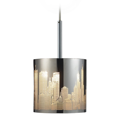 Elk Lighting Elk Lighting Skyline Polished Stainless Steel LED Mini-Pendant Light with Cylindrical Shade 31037/1-LED