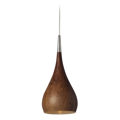 Elk Lighting Modern Mini-Pendant Light with Wood Shade 31341/1BW